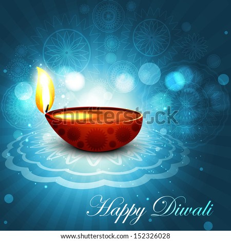 Beautiful happy diwali bright blue colorful hindu diya festival background illustration - stock vector