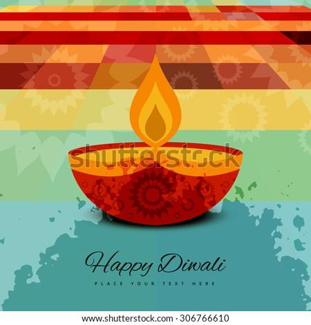 Beautiful happy diwali card background illustration - stock vector