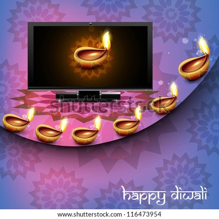 Beautiful happy diwali led tv screen celebration reflection colorful wave vector - stock vector