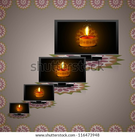 Beautiful happy diwali led tv screen set reflectio colorful vector design - stock vector