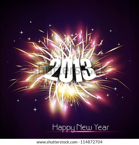 Beautiful Happy new year 2013 fireworks celebration colorful design vector - stock vector