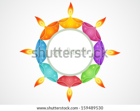 beautiful happy shubh diwali (translation: happy diwali) vector greeting - stock vector