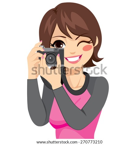 Beautiful happy smiling photographer woman taking photo using old retro analog camera - stock vector