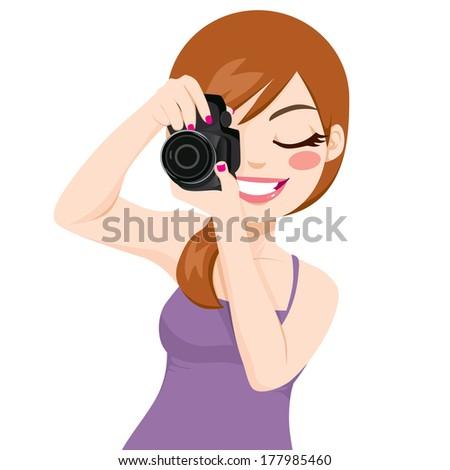 Beautiful happy smiling photographer woman taking photos using digital reflex camera - stock vector