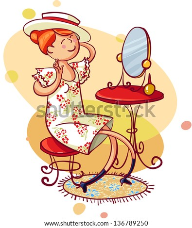 Beautiful happy smiling young shopper woman looking in mirror sitting in clothes store. - stock vector