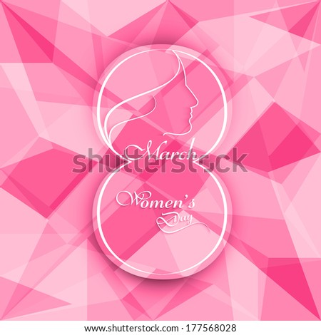Beautiful happy women's day colorful holiday polygon texture background vector - stock vector