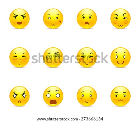 Beautiful happy yellow anime smiley in a small set of - stock vector