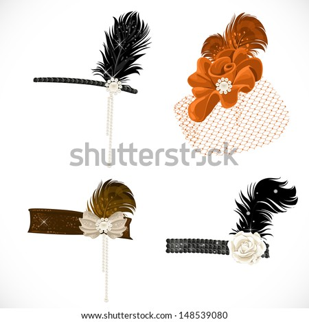 Beautiful headbands and hat with feathers to a retro party isolated on white background - stock vector