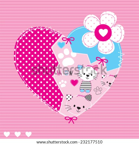 beautiful heart  cat pattern striped background vector illustration - stock vector