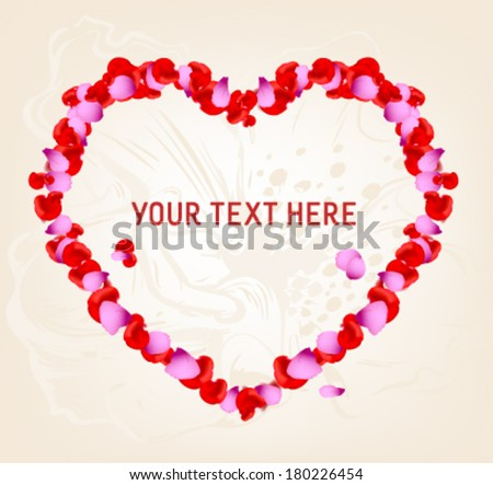 Beautiful Heart of Red and Pink Rose Petals Isolated on White with Editable Text