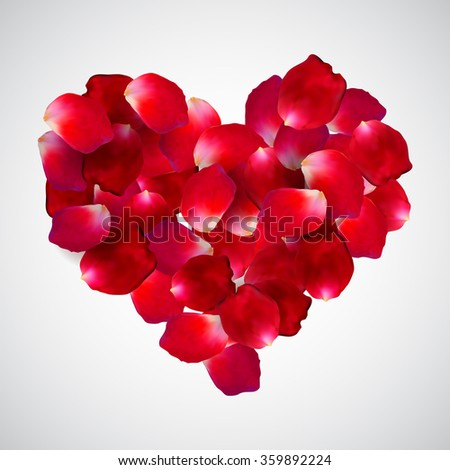 beautiful heart of red rose petals isolated on white background. Vector illustration. EPS 10 - stock vector