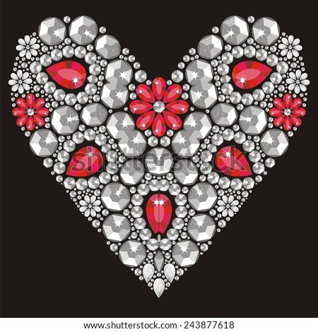 beautiful heart of shining crystals, congratulations on Valentine's Day, love, romance, wedding card -  - stock vector. - stock vector