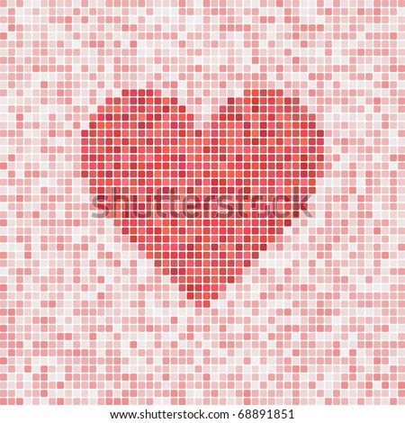 Beautiful heart vector mosaic for Valentine's Day - stock vector