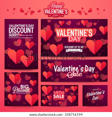 Beautiful hearts decorated Sale Banner set for Happy Valentine's Day celebration. - stock vector