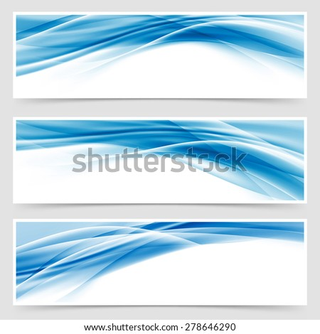 Beautiful hi-tech blue header footer swoosh collection web modern abstract transparent border layout. Vector illustration - stock vector