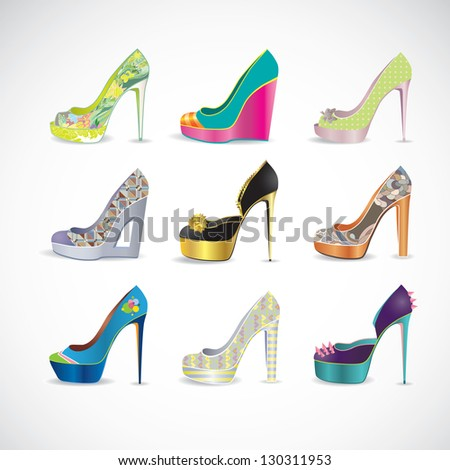 Beautiful high heels shoes in different patterns and colors
