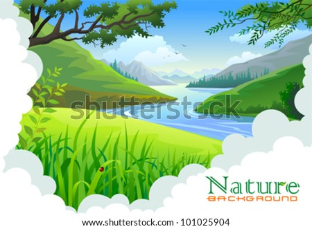 Beautiful hills and river landscape - stock vector