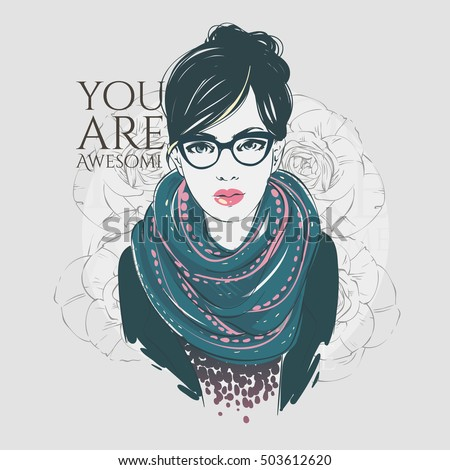 Beautiful Hipster Young Girl Fashion Jacket Stock Vector ...