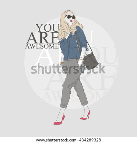 Beautiful hipster young woman in a blue blouse and glasses with bag on high heels. Hand drawn illustration. Vector illustration. - stock vector
