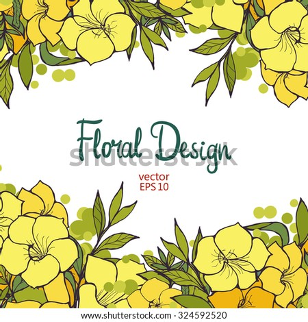 Beautiful horizontal floral border with yellow exotic flowers and place for text, vector illustration for your design - stock vector