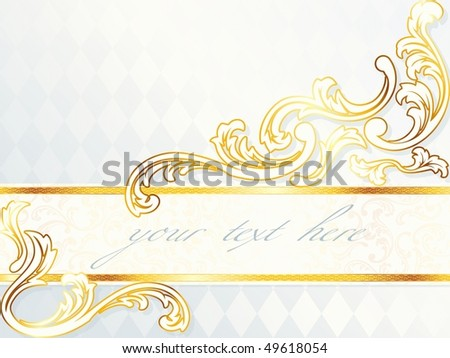 Beautiful horizontal rococo wedding banner, includes transparencies (Eps10); JPG version also available - stock vector