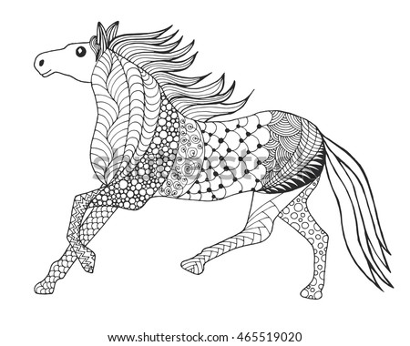 Horse head coloring page stock images royalty free images for Black and white horse coloring pages