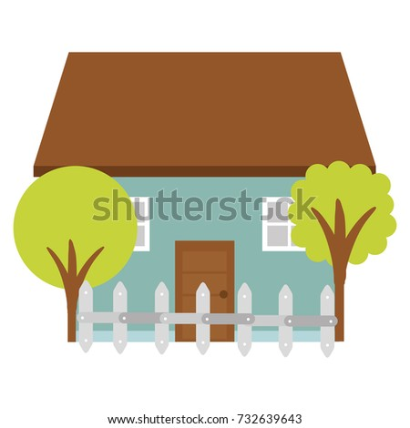beautiful house building with trees and fence