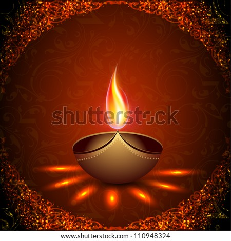Beautiful illuminating Diya background for Hindu community festival Diwali or Deepawali in India. EPS 10.