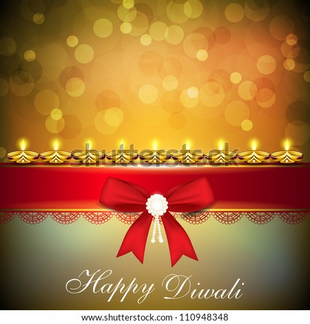 Beautiful illuminating Diya background with red ribbon for Hindu community festival Diwali or Deepawali in India. EPS 10. - stock vector