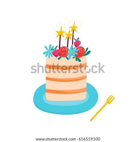 Beautiful Illustration Birthday Cake Vector Big Stock Vector