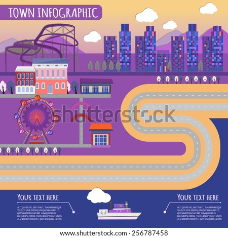 Beautiful illustration of abstract violet town infographics with amusement park elements. Vector image.