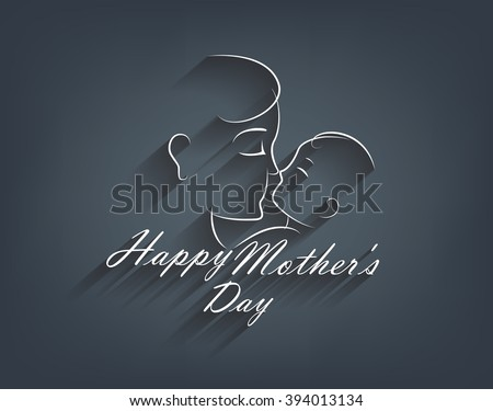 Beautiful illustration of greeting card of happy Mother's Day celebration with  black and with color and long shadow. text and  image of happy mother holding her cute baby that smiling to her mom. - stock vector