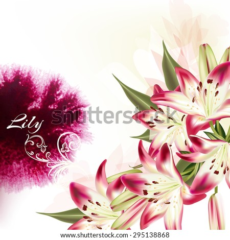 Beautiful illustration or background with pink lily flowers and watercolor spot