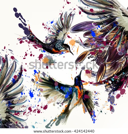 Beautiful illustration with lily  flowers and birds  in watercolor style painted by spots - stock vector