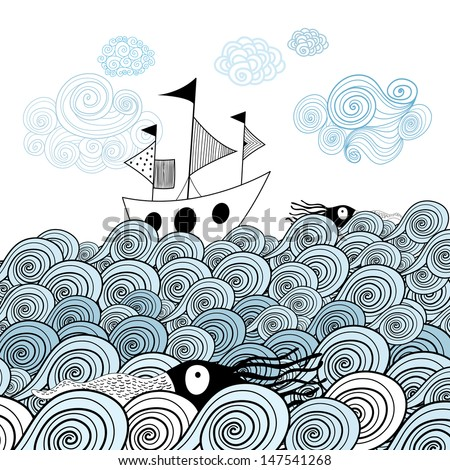 beautiful image of the ship on the background graphic ornamental sea waves - stock vector