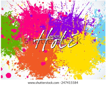 Beautiful Indian festival Colorful Happy Holi celebrations with colors splash on grungy illustration abstract background.... - stock vector