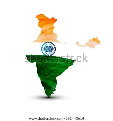 Beautiful indian flag map watercolor vector - stock vector