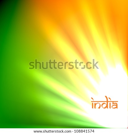 beautiful indian flag tri color design art - stock vector