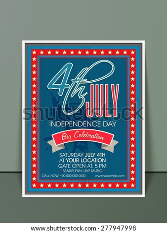 Beautiful invitation card design in blue and red color with date, time and place details for 4th of July, American Independence Day celebration. - stock vector