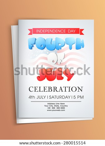 Beautiful invitation card with envelope for 4th of July, American Independence Day celebration. - stock vector