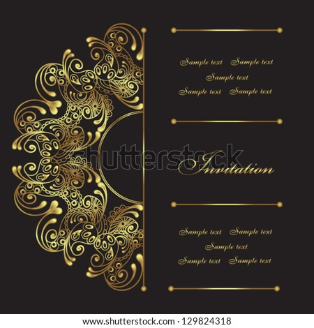 Beautiful invitation card with floral elements - stock vector