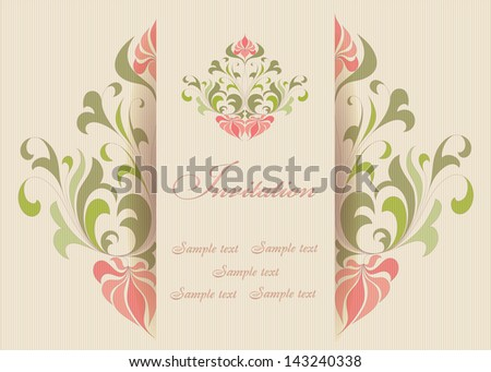Beautiful invitation card with floral elements. Lined  background. Place for your tex. - stock vector