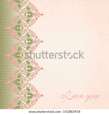 Beautiful invitation card with vintage floral elements on grunge textured paper. Seamless vintage floral oriental border. Vector illustration. - stock vector