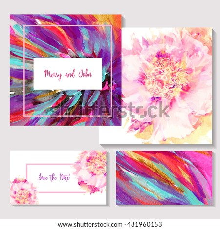 Beautiful invitation cards design with bright  abstract background and floral