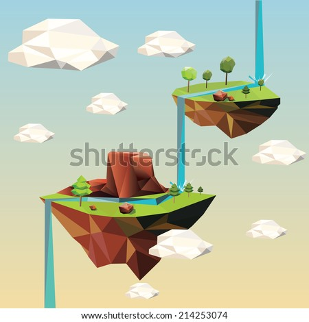 Beautiful islands floating in the sky. Vector Illustration. - stock vector