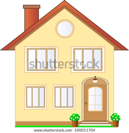 beautiful isolated house cottage with flowers - stock vector