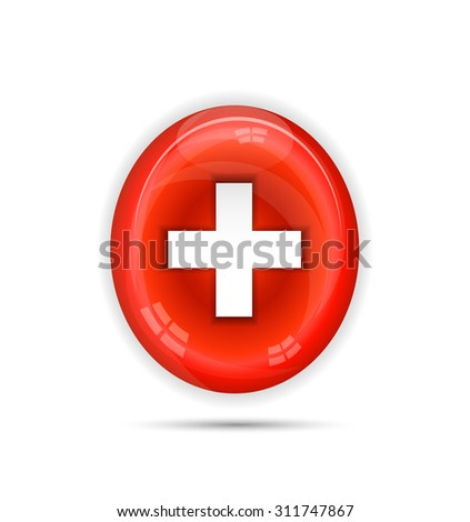 Beautiful, isolated, one red, blood cell with shadows, white background