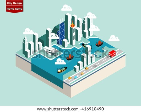 beautiful isometric style design concept of Hong Kong city - stock vector