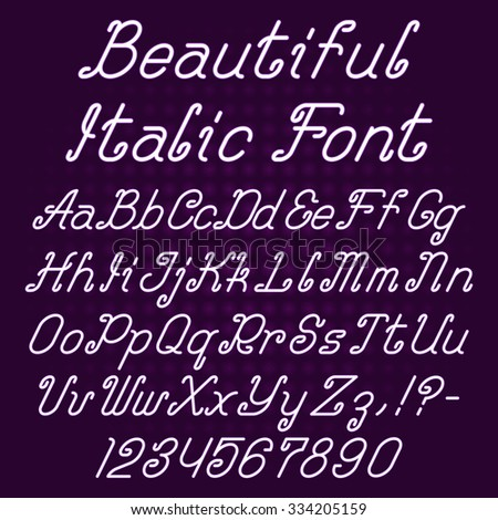 Beautiful Italic Curly Font Alphabet Of Ornate Capital And Lowercase Letters With Digits Punctuation