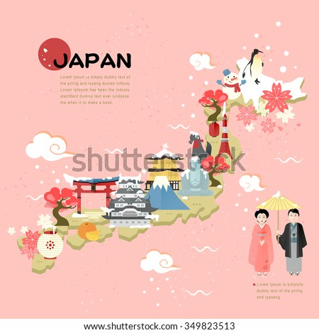 beautiful Japan travel map in flat style